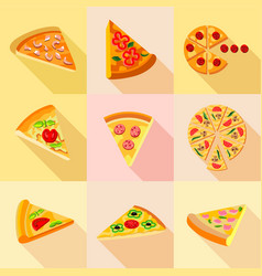pieces of pizza icons set flat style vector image