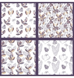 Scandinavian Floral Pattern Set vector image