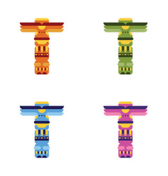 Set of native traditional totem pole vector