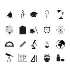 set of school black icons vector image