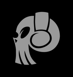 skull in headphones symbol icon vector image