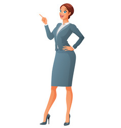 Smiling business woman with finger point up vector