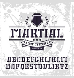 Stencil plate serif font in military style vector