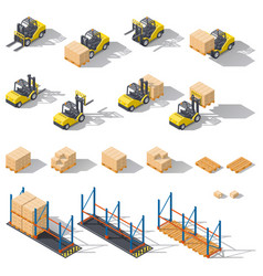 Storage equipment isometric icon set Presented vector image