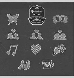 Valentines day collection of vintage sketch icon vector