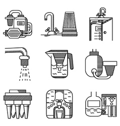 Water filters flat line icons vector