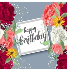 Birthday card with lettering and flowers vector