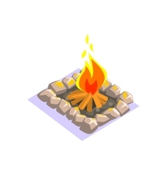 Bonfire with rock border jungle village landscape vector