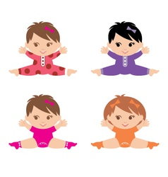 Set of little girls vector image