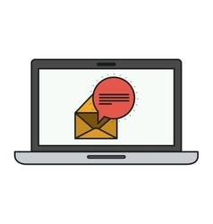 Envelope and laptop of communication design vector