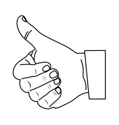 Monochrome contour with hand thumb up vector