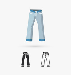 front back and side views of mens jeans vector image