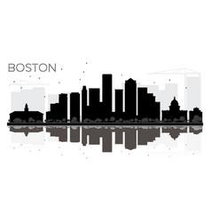 boston city skyline black and white silhouette vector image