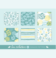 set of trendy sea seamless patterns with hand vector image