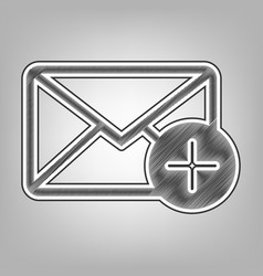 Mail sign with add mark vector