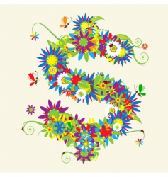 Dollar sign floral design vector