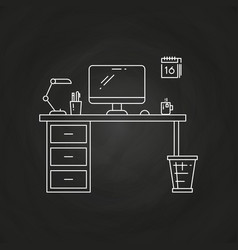 Office work place with table computer lamp vector