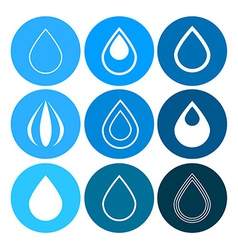 Water drops icons set on blue circles vector