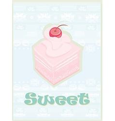 Lovely cake - Vintage Card Design vector image