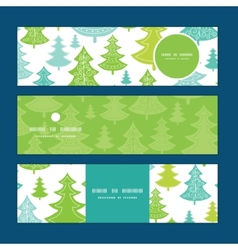 Holiday christmas trees horizontal banners vector