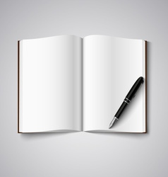 Blank diary were pages and pen vector image