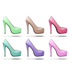 Soft vintage high heels pump woman shoes vector