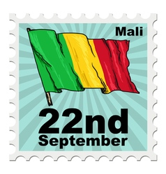 Post stamp of national day of mali vector