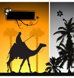 Summer holiday camel in desert vector