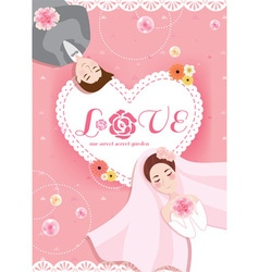 Romantic pastel sweet peach pink bride and groom vector