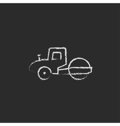 Road roller icon drawn in chalk vector