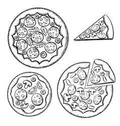 Italian pizza sketches with different topping vector