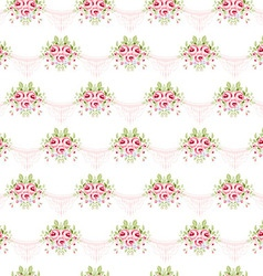 Seamless vintage pattern with pink roses vector