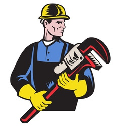 Plumber repairman monkey wrench vector