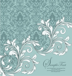 Vintage blue damask invitation with floral element vector