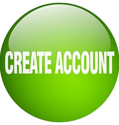 Create account green round gel isolated push vector