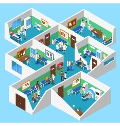 Hospital facilities interior isometric view vector