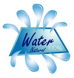 A blue icon with some drops of water and text vector