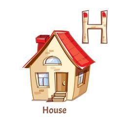 alphabet letter h house vector image
