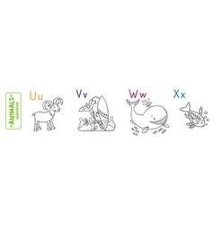 Animals alphabet or abc coloring book vector