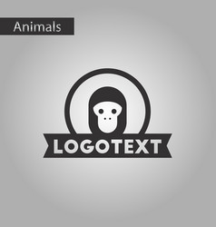 black and white style icon monkey logo vector image vector image