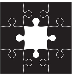 Black Puzzles Piece JigSaw - 9 Pieces vector image vector image