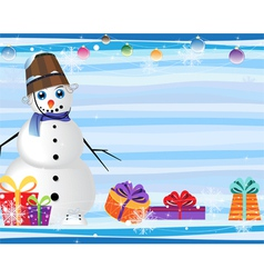 blue eyed snowman and gift boxes vector image vector image