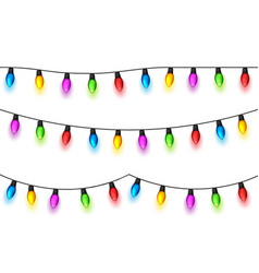 christmas glowing lights on white background vector image vector image
