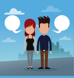 Couple bubble speech urban background vector