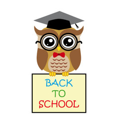 Cute owl teacher on white background cartoon with vector image vector image