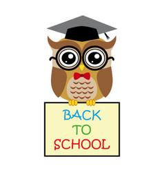 Cute owl teacher on white background cartoon with vector