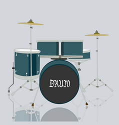 Drum set kits and reflection on ground with grey vector