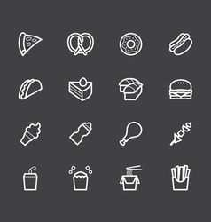 Fast food white icon set on black background vector