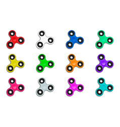 fidget spinner in defferent colors collection set vector image