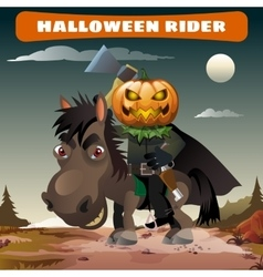 Ghost rider with axe in the midnight darkness vector image
